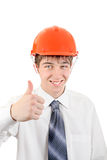 Happy Young Man in Hard Hat Royalty Free Stock Photo
