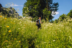 Happy young man hiking Royalty Free Stock Images