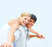 Happy young man and his girlfriend standing Stock Photo