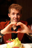 Man with his hands depicting heart Stock Photos