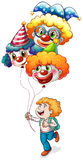 A happy young man holding clown balloons Royalty Free Stock Photos