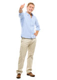 Happy young man holding thumbs up isolated on white background Royalty Free Stock Photos