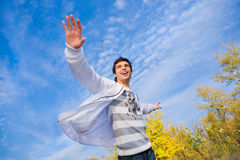 Happy Young Man Jumpin Stock Images