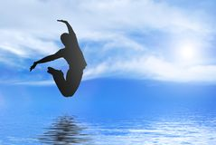 Happy and young man jumping. With reflection royalty free illustration