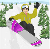 Happy young man jumping with snowboard at ski resort royalty free illustration