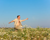 The happy young man jumps in the field of chamomiles Stock Photography