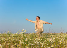 The happy young man jumps in the field of chamomiles Royalty Free Stock Image