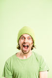 Funny man portrait real people high definition green background Royalty Free Stock Photos