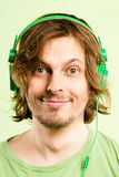 Happy man portrait real people high definition green background Stock Photography