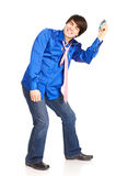 Happy young man with mp3-player. Royalty Free Stock Photography