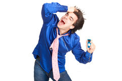 Happy young man with mp3-player. Stock Photo