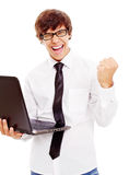 Happy young man with notebook Stock Photo
