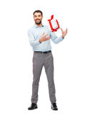 Happy young man playing with gift box Royalty Free Stock Photo