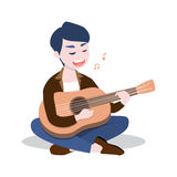 Happy young man playing the guitar and sing a song, Isolated on white background. Vector illustration Royalty Free Stock Photography