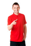 Happy young man pointing you Stock Photography