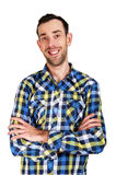 Happy young man. Portrait of handsome young man in casual shirt Royalty Free Stock Image