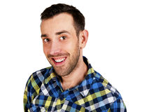 Happy young man. Portrait of handsome young man in casual shirt Stock Photography
