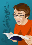 Happy young man reading. Vector illustration of young man reading and looking happy about it Royalty Free Stock Photography