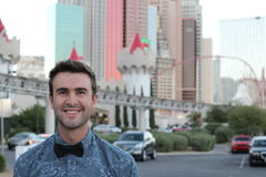 Happy young man ready to go party in Las Vegas, USA Stock Image
