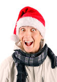 Happy Young Man in Santa Hat Stock Photography
