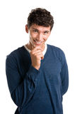 Happy young man satisfied Stock Photography