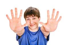 Young Man show a Palms stock photos