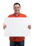 Happy young man showing and displaying placard Stock Images