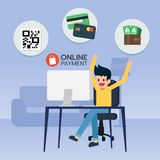 Happy young man sit in front computer, online payment. With QR code, credit card, wallet and money for e-commerce. Shopping online. Vector illustration Stock Images