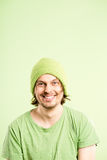 Happy man portrait real people high definition green background Stock Image