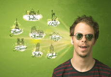 Happy young man with sunglasses traveling to cities around the w Royalty Free Stock Photography