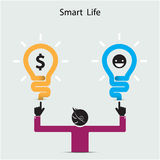 Happy young man symbol with smart life concept. Business idea an Royalty Free Stock Photo