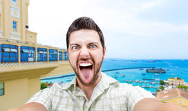 Happy young man taking a selfie photo in Bahia, Brazil Royalty Free Stock Images