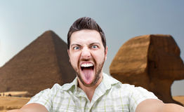 Happy young man taking a selfie photo in Cairo, Egypt Stock Images