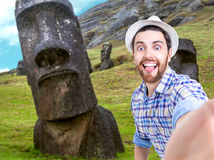 Happy young man taking a selfie photo in Easter Island, Chile Royalty Free Stock Photography