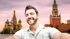 Happy young man taking a selfie photo in Moscow, Russia Royalty Free Stock Image