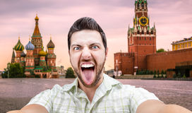 Happy young man taking a selfie photo in Moscow, Russia Stock Photography