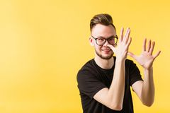 Happy young man teasing entertainment celebration royalty free stock image
