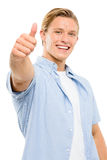 Happy young man thumbs up isolated on white background Stock Photography