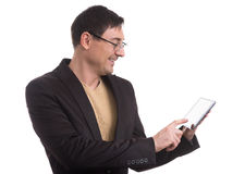 Happy Young Man Using Digital Tablet Royalty Free Stock Image