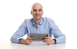 Happy Young Man Using Digital Tablet Royalty Free Stock Photo
