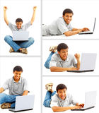 Happy young man working on a laptop Stock Images