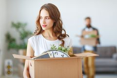 Happy young married couple moves to new apartment Stock Photo