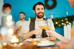 Friends toasting at dinner party royalty free stock photos
