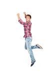 Happy young men jumping Stock Images
