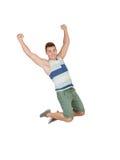 Happy young men jumping Stock Photos