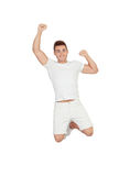 Happy young men jumping Stock Photography
