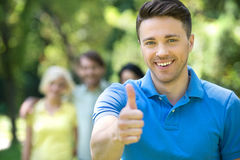 Happy young men outdoors. Stock Photo