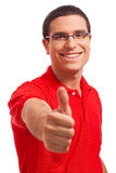 Happy Young men Showing Thumb'S Up Royalty Free Stock Photos
