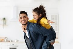 Free Happy Young Middle-Eastern Father And Little Daughter Having Fun Together At Home Stock Image - 224989481