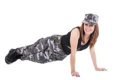 Happy young military patriotic proud girl Royalty Free Stock Image
